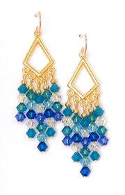 03 04 939 swarovski crystal chandelier earrings blue glacier