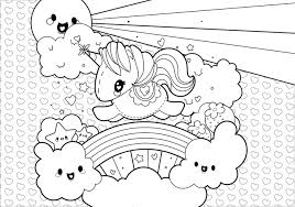 Small Picture Rainbow Unicorn Scene Coloring Page Download Free Vector Art