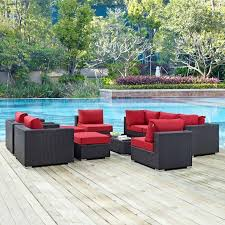 10 piece patio furniture set broyerk blue grey rattan