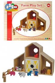 kids quality wooden farm house playset animals fence farmer childrens toy