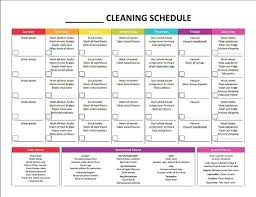 Weekly Cleaning List Template Home Cleaning Schedule