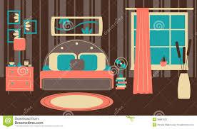 Retro Style Bedroom Retro Bedroom In Flat Style Stock Vector Image 38861522