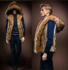faux fur hooded coat mens new faux rabbit fur hooded coat jacket winter warm vest waistcoat