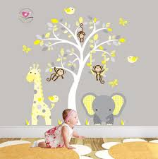 Enchanted Interiors Jungle Wall Sticker Decals Premium Self Adhesive Fabric Nursery  Wall Art Approx Size: 50 high x 43 wide Captivate your