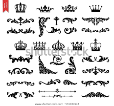 Scroll Border Designs Ornate Scroll Decorative Design Elements Crowns Stock Vector