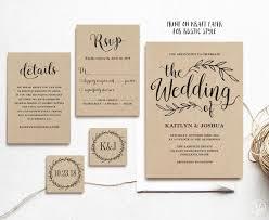 Text Invitations Vintage Wedding Invitation Printable Wedding Invitations Kraft