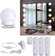 Stick N Shoot Light Hollywood Style Led Vanity Mirror Lights Kit With 10 Dimmable Light Bulbs For Makeup Dressing Table And Power Supply Plug In Lighting Fixture Strip
