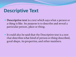 descriptive text the example descriptive