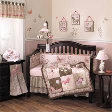 image of elegant pink and brown crib bedding