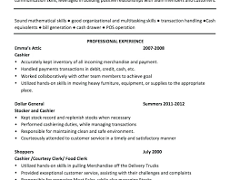Sample Of Cashier Resume Cashier Resume Sample Sample Cashier Resume