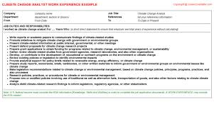 Climate Change Analyst CV Work Experience