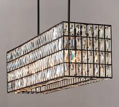 adeline crystal rectangular chandelier pottery barn within rectangle light fixture inspirations 11
