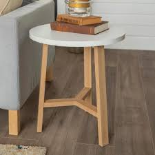 walker edison furniture company 20 in white marble and light oak round side table