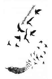 Voděodolné Tetování Na Nohu Létající Ptáci A Pírko