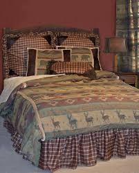western country bedding set plaid deer bear twin queen