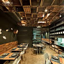 Industrial Interior Design Ideas : Gorgeous Restaurant Design With  Industrial Decoration Theme Using Brown Wooden Tables