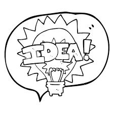 Freehand drawn speech bubble cartoon idea light bulb symbol royalty