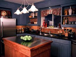 blue painted kitchen cabinets. Very Small Old Kitchen Design And Oak Cabinet Painted With Chalk Black Color Brown Wood Backsplash Panels Plus Stanless Steel Countertop Wooden Blue Cabinets I