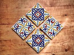 Decorative Tile Coasters Decorative Tiles Andalusian Ceramic Tiles Tile Wall Art DIY Set 56
