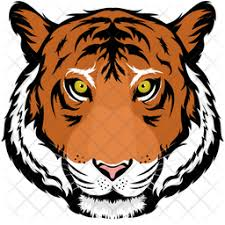 tiger face icon in flat style