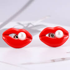 Earrings Jewellery & Watches <b>Fashion</b> Red Lips Studs Earrings ...