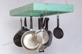 pot rack wooden ceiling mounted rectangular large 5 rungs hang kitchen pots and pans pftutrei