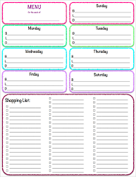 Grocery Shopping Template Weekly Meal Menu And Grocery List Planner Template Sample Vlashed 21