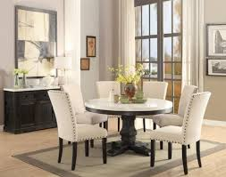 acme 72845 nolan classic white marble top black round dining table set 7pcs for