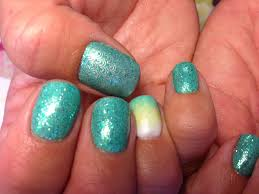 Mani-Q Green 101 with Ombre fading--Caribbean Blue Nails!