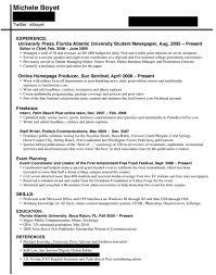 Sample Internship Resume For College Students Summer Intern