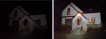 lighting a house. I Showed The House Above After Work One November. Our Welcome Was Photo On Left. At Least There A \u0027FOR SALE\u0027 Sign Out Front Which Helped Find Lighting H