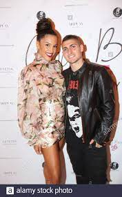 Marco Verratti and his girlfriend Jessica Aidi attending party to celebrate  Cindy Bruna's 25th birthday organized by Five Eyes Production held at  ''Lutetia Hotel
