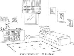 bedroom clipart black and white.  Bedroom Children Room Graphic Black White Interior Sketch Illustration Vector Intended Bedroom Clipart Black And White H