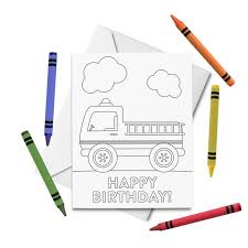 From spaceships and trucks to llamas and unicorns, find birthday invitation templates they'll love. Printable Happy Birthday Coloring Card Fire Truck Birthday Card Birthday Card For Kids Birthday Color Your Own Card Diy Print Color By Tickled Peach Studio Catch My Party