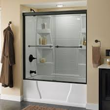 delta lyndall 60 in x 58 1 8 in semi frameless sliding bathtub door in bronze with clear glass 158733 the home depot
