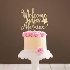 <b>Personalized Star Welcome Baby</b> Cake Topper Baby Girl Shower ...