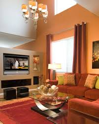 interior, Pretty Living Room With Beige Accents Wall Feat Brown Sectional  Sofa And Glass Top