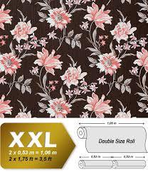 Bloemen Behang Edem 900 15 Roze Met Textiel Structuur Bruin Oud Roze