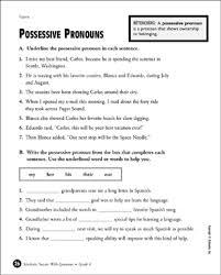 Possessive Pronouns Grade 4 Printable Test Prep Tests