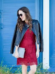 tips on how to dress down a red lace party dress for fall