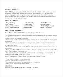 Truck Driver Objective For Resume Truck Driving Resume Driver Sample 100 100 Example Home Templates 61