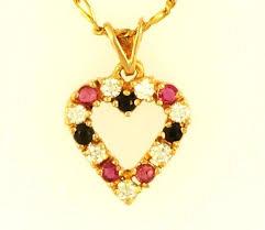 9ct yellow ruby sapphire simulated diamond heart pendant