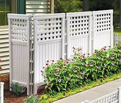 Amazon.com : Made-In-USA White UV Resistant 4-panel Resin Outdoor Privacy  Screen Hides Garbage Cans, Recyclables, Bikes. Portable Outdoor Patio Screen  ...