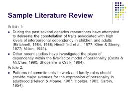 Lit Review Example Apa Literature Review Example Apa