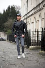 allsaints cargo biker leather jacket and flat cap outfit