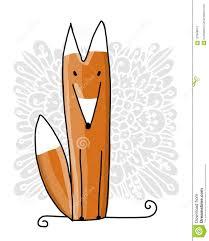 милая красная лиса эскиз для вашего дизайна иллюстрация вектора