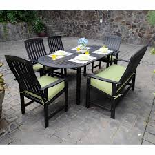 delahey 6 piece outdoor wood dining set with seat pads dark brown box 2 of 2 com