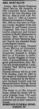 Obituary for Myrtle MYRT McCOY (Aged 88) - Newspapers.com