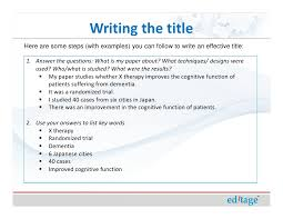 How To Write An Effective Title And Abstract And Choose Appropriate