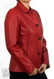 women s red leather jacket plus size cameo front